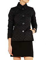 Women's Solid Slim Warm Single-Breasted Temperament Parka Coat , Casual / Plus Sizes Shirt Collar Long Sleeve
