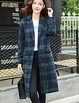 Women's Check Red / Green Coat , Casual Long Sleeve Others