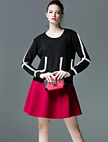 Women's Color Block Red / Black / Yellow Set , Casual Long Sleeve