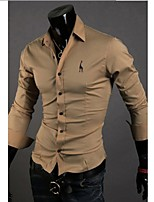 Men's Long Sleeve Shirt , Cotton Blend Casual / Work / Formal / Sport / Plus Sizes Print / Pure