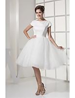 웨딩 드레스 - 아이보리(색상은 모니터에 따라 다를 수 있음) A 라인 무릎 길이 바토 튤