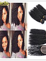 4 Pcs/Lot 3 Bundles With Closure Curly Brazilian Virgin Hair With Closure Cheap Brazilian Kinky Curly Human Hair Weave
