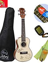 jimi®red gran träfärg strand konsert ukulele + backage + rem + mottagare + plocka färg