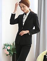 Women's Solid Black Blazer , Work Notch Lapel Long Sleeve