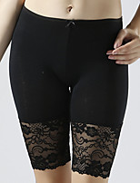 Women Solid Color Stitching Lace Legging , Viscose Modal Thin