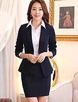 Women's Solid Blue / Black Blazer , Work Asymmetrical Long Sleeve