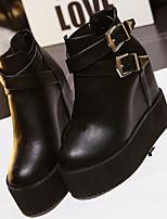 Women's Shoes Leatherette Platform Combat Boots Boots Casual Black