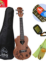 Jimi®Mahogany Concert Ukulele Brown Beach+Backage+Strap+Tuner+Pick Suit