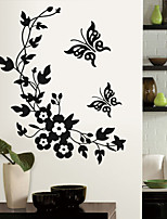 Wall Stickers Wall Decals, Black Flower Vine PVC Wall Stickers