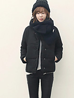 Women's Solid Black Parka Coat , Casual Round Neck Long Sleeve