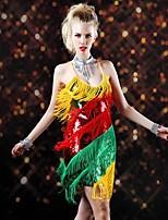 Latin Dance Dresses Women's Performance Chinlon / Nylon / Spandex / Sequined Sequins / Tassel(s) 1 Piece Multi-color