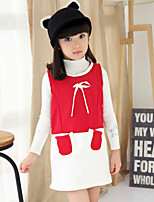Girl's Black / Red Dress , Bow Cotton Blend Winter / Spring / Fall