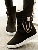 Women's Shoes Dunk High Chain Diamond Leisure Flat Heel Comfort / Round Toe Boots Dress / Casual Black / Yellow / Pink