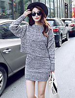 Women's Solid Casual Long Sleeve Two-piece Knitting Dress Suit