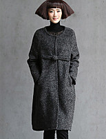 Women's Solid Red / Gray Coat , Vintage / Casual / Work / Plus Sizes Long Sleeve Tweed / Wool / Others