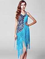 Vestidos ( Rojo / Azul Laguna , Spandex / Poliéster / Lentejuela , Danza Latina ) - Danza Latina - para Mujer