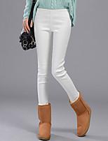 Women Solid Color / Fleece Lined Legging , Cotton / Others / Modal Medium