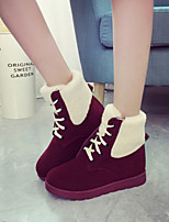 Women's Shoes New Arrival Warm Fashion Flat Heel Comfort / Round Toe Boots Casual Black / Yellow / Burgundy
