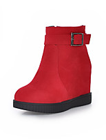 Women's Shoes Wedge Heel Fashion Boots / Round Toe Boots Dress Black / Yellow / Red