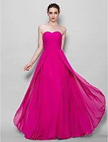 Floor-length Chiffon Bridesmaid Dress - Fuchsia A-line Sweetheart
