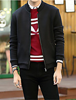Men's Long Sleeve Jacket , Cotton Casual / Work Pure