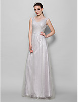 Floor-length Tulle Bridesmaid Dress - Silver A-line V-neck