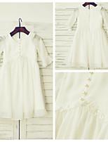 A-line Knee-length Flower Girl Dress - Chiffon / Lace 3/4 Length Sleeve