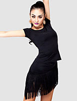 Latin Dance Outfits Women's Performance Spandex / Polyester Tassel(s) 2 Pieces Black / Multi-color