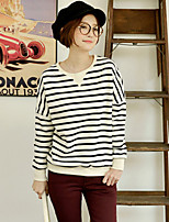 Women's Print / Striped White Hoodies , Casual / Print / Cute Round Neck Long Sleeve