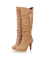 Women's Shoes Stiletto Heel Wedges / Fashion Boots / Round Toe Boots Dress / Casual Black / White / Beige