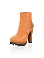 Women's Shoes Fleece Chunky Heel Round Toe / Closed Toe Boots Office & Career / Dress / Casual Black / Brown / Beige