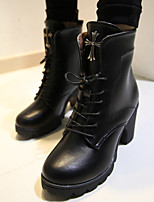 Women's Shoes Leatherette Chunky Heel Fashion Boots Boots Outdoor / Casual Black / Brown / Beige / Taupe