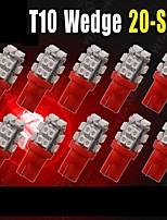 10 x W5W T10 2825 192 194 168 501 158 20smd rojo conducido lado cuña bombilla dc 12v