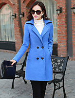 Women's Solid Blue / Red / Green Coat , Vintage Long Sleeve Others