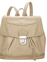 Women PU Bucket Backpack - Beige / Pink / Black