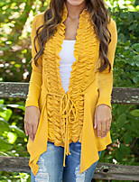 Women's Solid Yellow / Gray Loose Leisure  Irregular Cardigan , Casual Long Sleeve