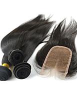 4 pièces / lot # 1B brésilienne de cheveux vierge droites faisceaux de cheveux avec fermeture à lacets