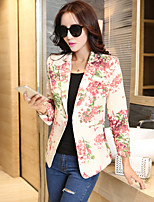 Women's Print Red Blazer , Casual / Print / Party / Work V Neck Long Sleeve