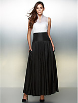 Formal Evening Dress - Ivory / Black A-line V-neck Ankle-length Organza / Taffeta