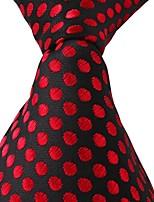 Classic Men Leisure Jacquard Red Dots Black Tie Necktie