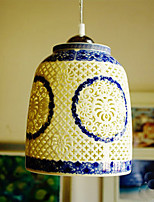 Retro Ceramic lamp lamp Entrance Stairs Blue Single Head Chandelier Creative V