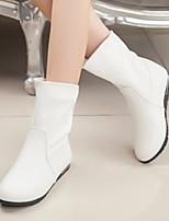 Damenschuhe - Stiefel - Kleid / Lässig - Kunstleder - Flacher Absatz - Komfort / Rundeschuh / Modische Stiefel - Schwarz / Weiß