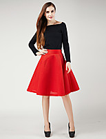 Women's Solid Red / Black / Green Skirts , Casual / Work Midi