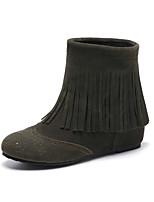 Women's Shoes Fleece Wedge Heel Fashion Boots / Round Toe Boots Dress / Casual Black / Brown / Green / Beige