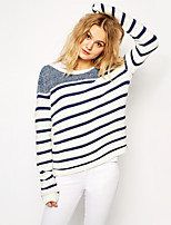 Women's Striped White Pullover , Casual / Work Long Sleeve