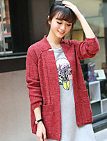 Women's Solid Blue / Red Cardigan , Casual Long Sleeve