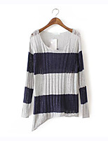 Women's Striped Black / Gray Pullover , Sexy / Casual Long Sleeve