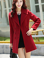 Women's Solid Blue / Red / Green / Gray Coat , Casual Long Sleeve Others