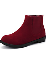 Women's Shoes Low Heel Fashion Boots / Round Toe Boots Casual Black / Brown / Red