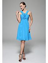 Brautjungfernkleid - Meeresblau Chiffon - A-Linie - knielang - Träger